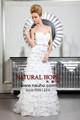 Шикарный милая декольте кот веерообразные аппликации декоративные a-line уникальный дизайн невесты свадебное платье 2015 новое поступление