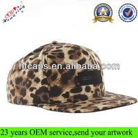 2014 black leather patch square brim flat brim custom design your own leopard flat bill snapback hat