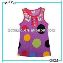 Bright colors girls Top Shirt T-Shirt sleeveless N2871/purple/dots