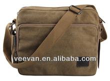 Stylish Khaki Shoulder Bag Vintage Washed Canvas Vertical Messenger Bags 2014