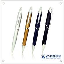 Oblique barrel style twist action metal ball point pen