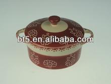 BT510-290 stoneware color handpainted round casserole