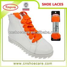 Popular color orange woven fat shoe laces for leisure shoes