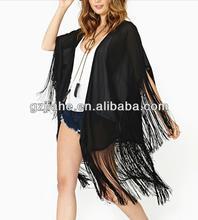 New fashion half sleeve tassels hem kimono cardigan for women