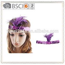 Fashion purple sequin headband with plume hairband