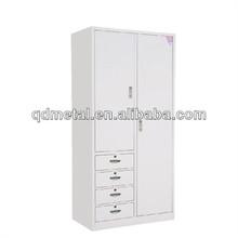 Double door colourful steel bedroom cupboard , Metal cupboards wardrobe design popular