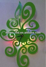 New led wall clock with green color for home decor
