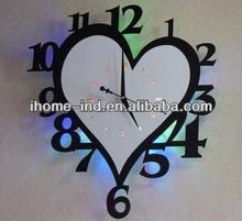 Heart-shape design led acrylic wall clock for room