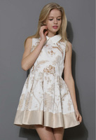 2014 Latest Ladies Fashion Sequins embroidery Cotton Skater Dresses with Pictures