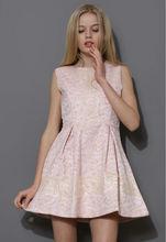 2014 Lace Ornament Sleeveless Top Brands Elegant Skater Pink Dress