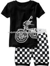 Boys Motorbike printed Black short pajama set with check printed shorts
