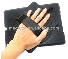 360 rotating handheld pu leather case for ipad air , for ipad case with hand strap