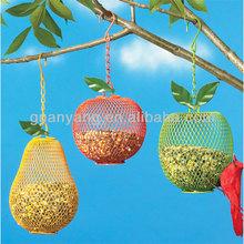 Colorful Metal Fruit Bird Feeders Hanging on Tree or Garden Decoration,Metal Net Apple Frame Bird Feeder Hanging Art