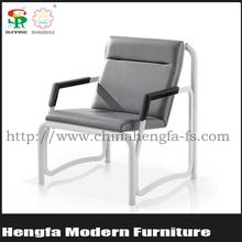 Popular design modern leisure steel hotel dinner genuine leather chairs