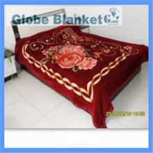 2015 Australian style deep red printed fleece raschel blanket
