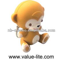 monkey keychain light with sound,promotional keychain light