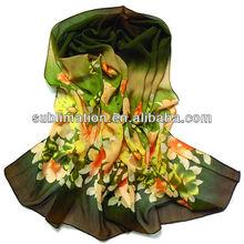Custom fashionable logo print silk scarf