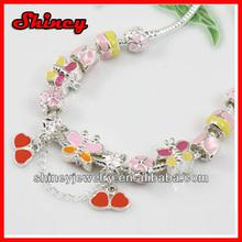 2014 hot selling metal star charm beaded bracelet,snake chain lucky charm bracelet