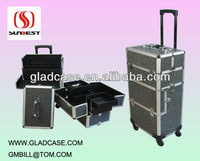 SB1412 High quality aluminum professional beauty trolley case makeup case make up case