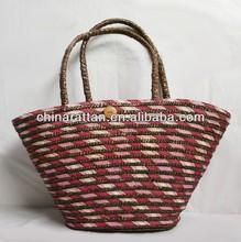 LUDA Fashion Straw Wheat&Cotton Beach Bag