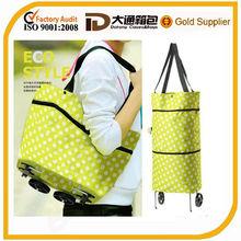Cheap oxford vegetable shopping trolley bag /shopping bag with wheel /foldable shopping bag