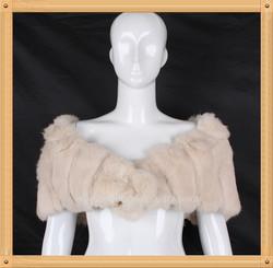 ladies rabbit fur knitted shawl tippet vest