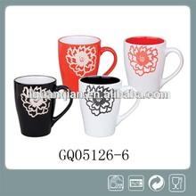 340cc black white and red stoneware mug handmade