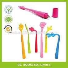 LOGO printing new model pvc rubber plastic ball pen, very cheap good gesture desgin promotion car ball pen
