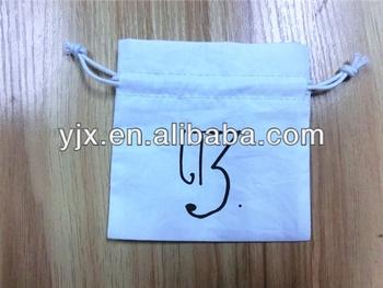 White customized cotton drawstring bags