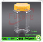 250ml clear plastic sealable Hexagon honey Jars With Choice of Black, Gold or Silver Lined Lid