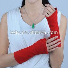 red woolen fingerless gloves for women