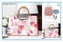 Good quality wome PU flower printed hand bags elegant tote bag