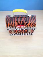 small handbag shape tin case with plastic handle