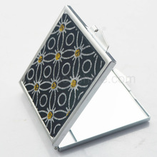 Yellow glitter flowers square metal handbag magnifying mirror covered with leather