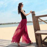 New Maxi Long Bohemian Restore Women Shinning Chiffon Long Skirt Pants Pantskirt 5Colors With Belt SV000772