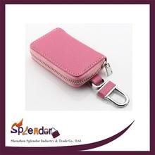 Unisex eight pure colors soft plaid pattern car key case GENUINE LEATHER key case