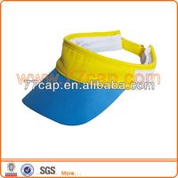 Custom Blank Blue and Yellow Cotton Lighted Sun Visor Cap