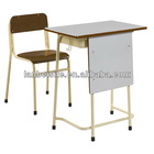 Wooden metal frame student desk and chair suit