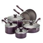 Porcelain Enamel Aluminum non-stick 10-Piece purple Cookware Set