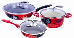 6pcs High-quality porcelain Enamel african painting cast iron cookware