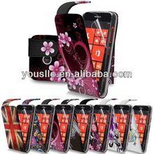print PU Leather flip mobile phone case cover for nokia lumia 520