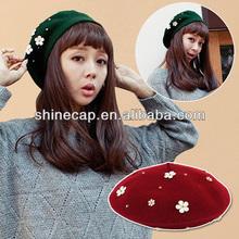 Cheap berets cap frech beret with decorative flowers korean style
