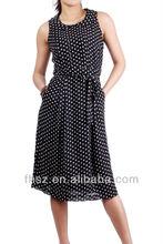 Black & white sleeveless dot long dress with pocket dress