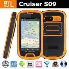 Rugged 3G Phone Original Cruiser S09 PTT Quad core Dual Card MTK 6589W NFC android waterproof mobile phone
