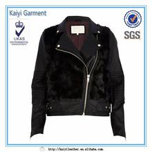 vintage clothing fur black winter slim fit jacket for women
