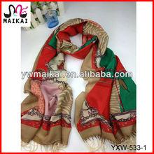 Latest new design chain print 100%wool fashion lady korea muffler scarf