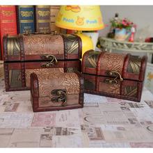 zakka grocery retro antique wooden jewelry box leather jewelry box Pteris three-piece C1706