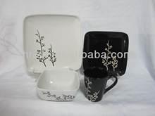 2014 fresh design Matt Silk Screen Printing Glazed Ceramic square & round Stoneware dinner set