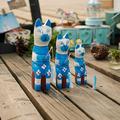 Nordic bois sculptures d'animaux de zakka épiceries chat de pêche 3 conjuntos de creative ameublement C1502