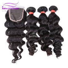 kbl hair,100 crochet braid hair virgin hair bundles with lace closure
